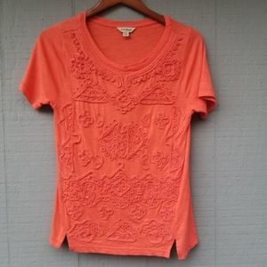 Lucky Brand Embroidered Short Sleeve Orange Small